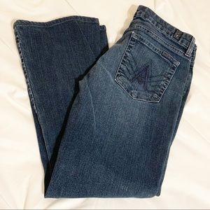 7 FAMK dark blue A pocket bootleg denim jeans crop